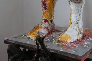 Having Shower 1 - Quintessence - 2014 - plaster, canvas, acrylic painting, wood, dust and plexiglass