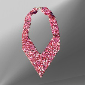 Pink-puzzle-woven-V-necklace