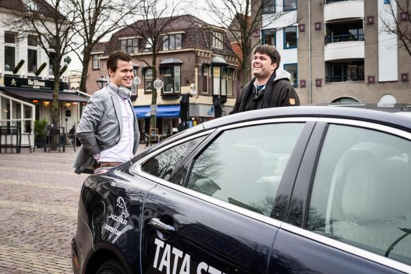 Carlsen and Nielsen during Tata Steel chess tournament 2019