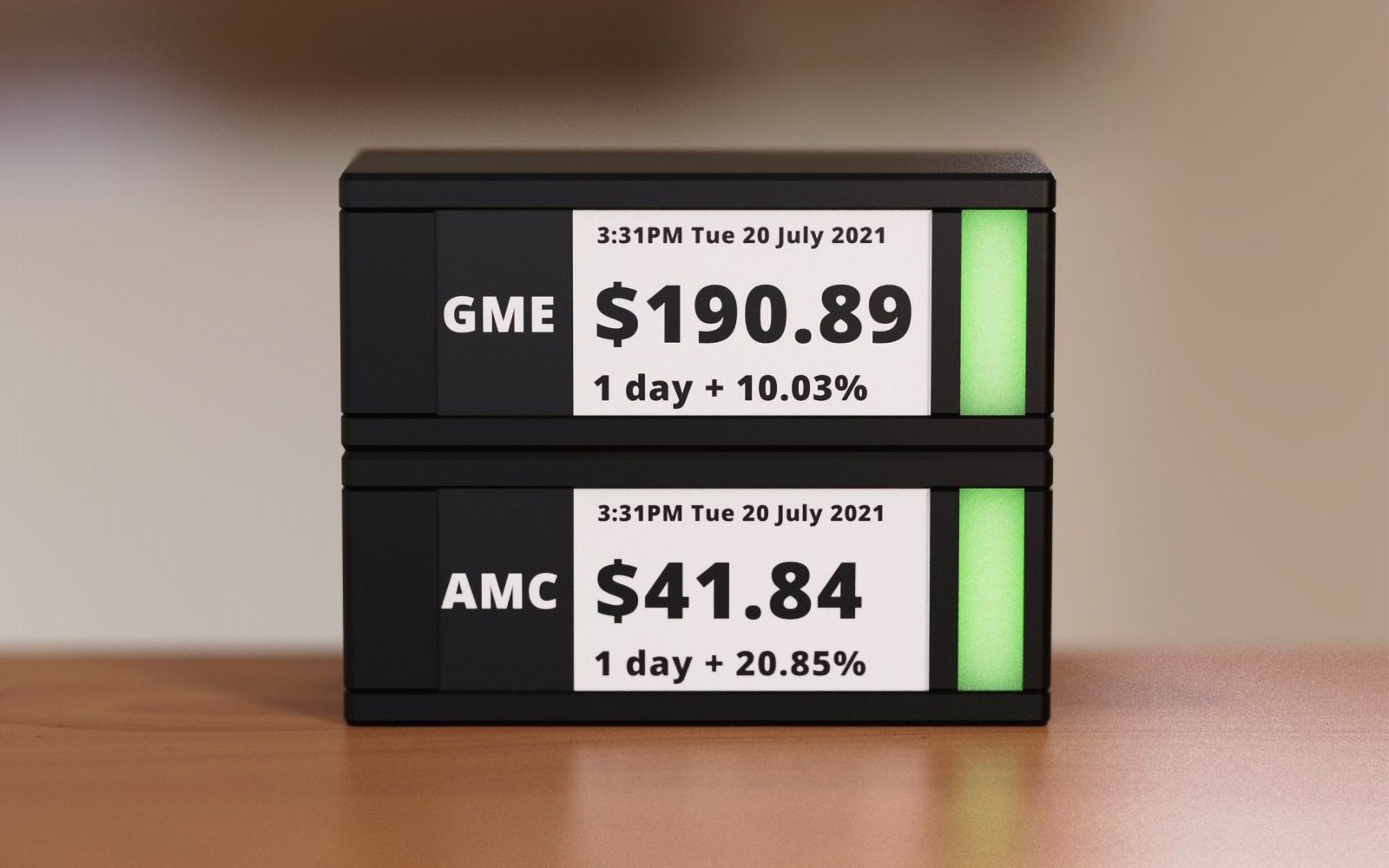 TickrMeter is physical ticker on your desk to keep track of cryptocurrencies and stock