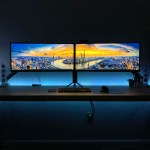 A powerful Battlestation on this big Ikea desk with minimal clutter