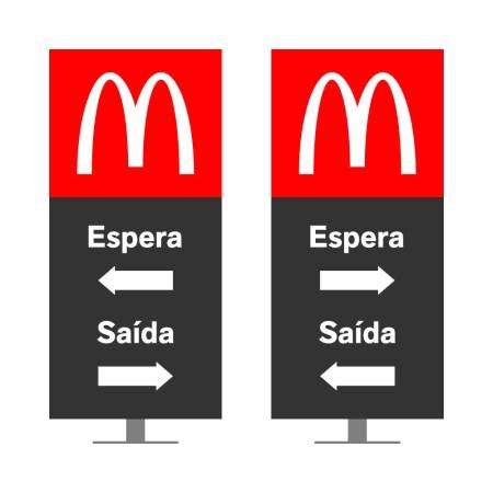 DIRECIONAL MODELO GA VAZADO - FACE 1: ESPERA SETA ESQUERDA SAÍDA SETA DIREITA / FACE 2: ESPERA SETA DIREITA SAÍDA SETA ESQUERDA