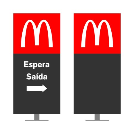 DIRECIONAL MODELO GA VAZADO - FACE 1: ESPERA SEM SETA SAÍDA SETA DIREITA / FACE 2: SEM TEXTO