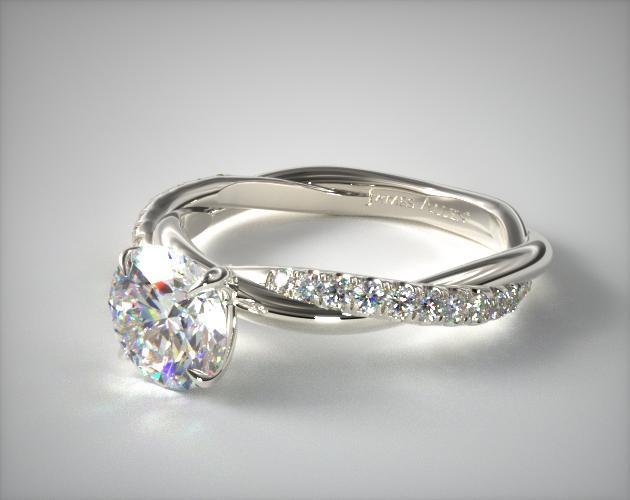 Pave Rope Engagement Ring 14K White Gold James Allen