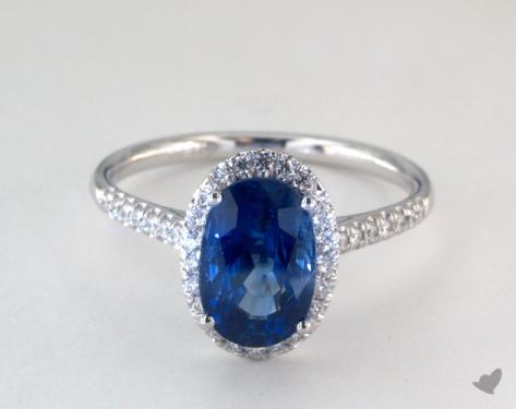 306 Carat Blue Sapphire Oval Cut Halo Engagement Ring In