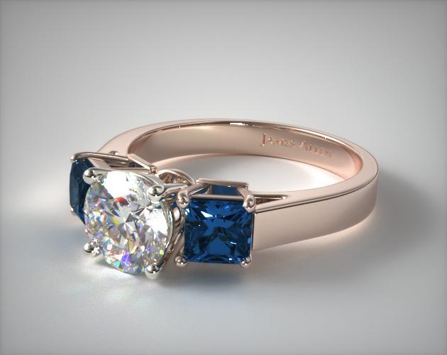 11152R14 Three Stone Princess Shaped Blue Sapphire