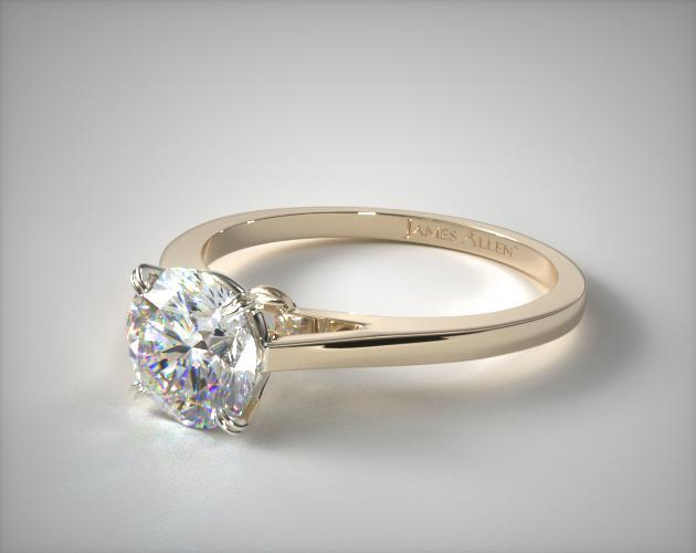 Double Claw Prong Engagement Ring 18K Yellow Gold 17130Y