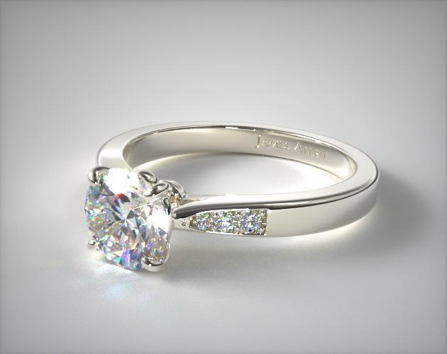 Petite Diamond Accent Engagement Ring 14K White Gold