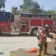 firefighters gross decon efforts