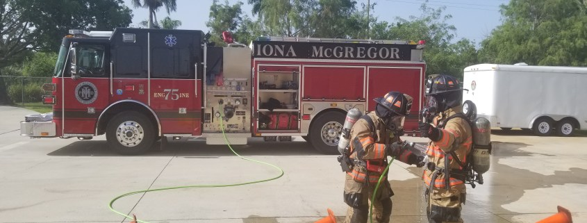firefighters gross decon efforts