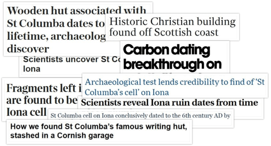Collage of headlines about Columba's cell