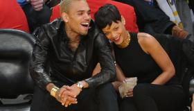 Chris Brown and Rihanna at NY Knicks Vs. LA Lakers basketball game