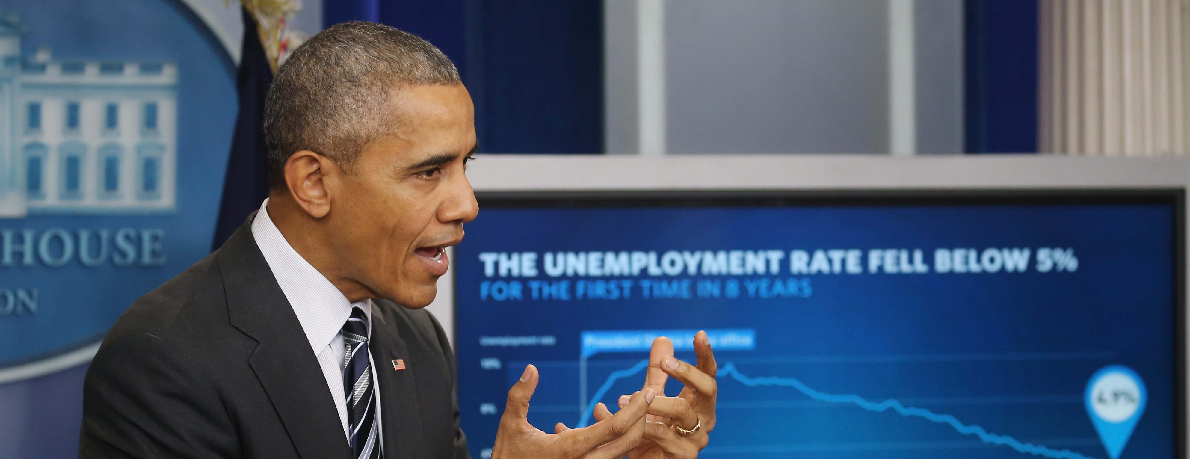President Obama Speaks On The Economy In Brady Press Briefing Room
