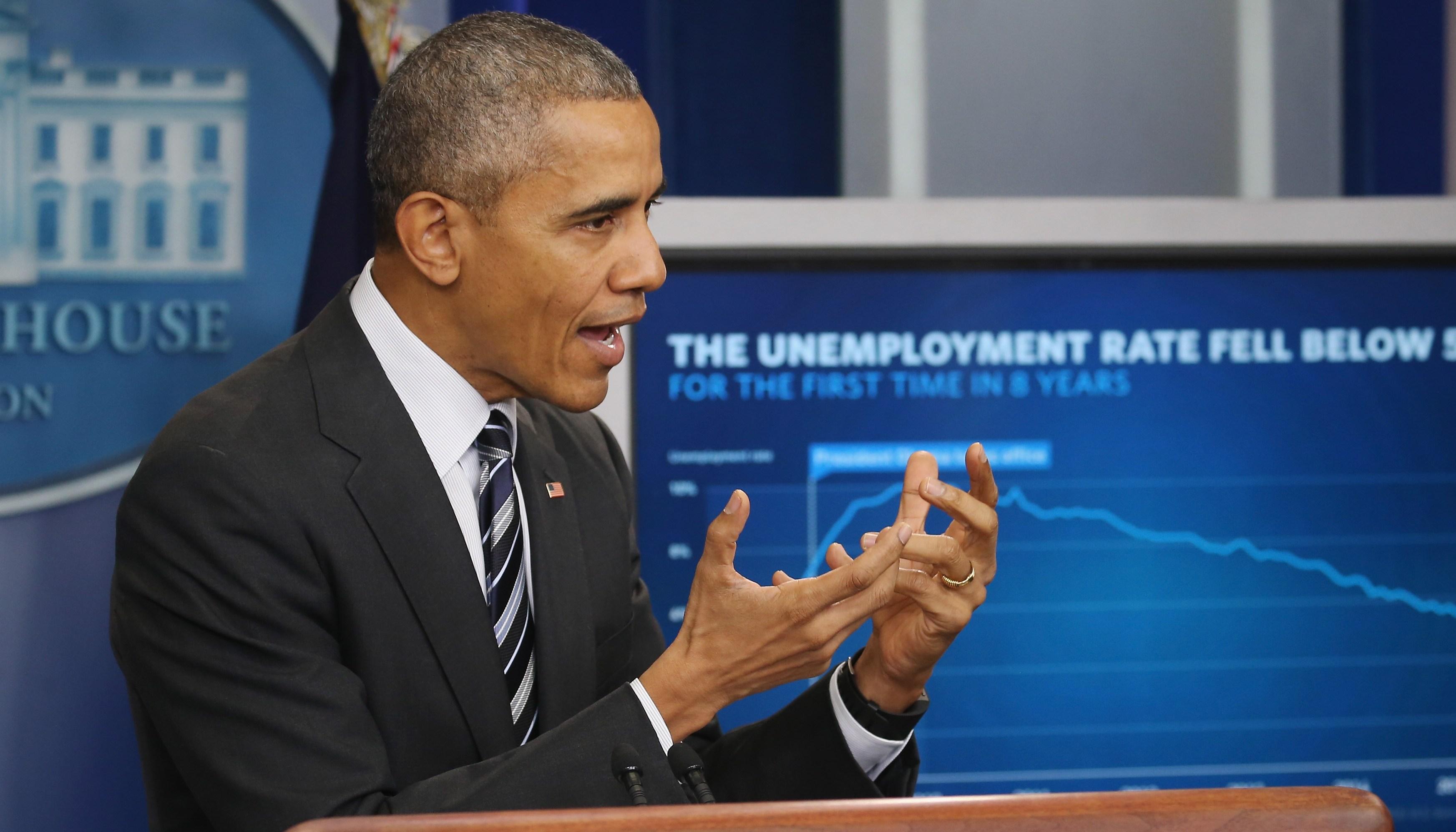 President Obama Speaks On The Economy In Brady Press Briefing Room