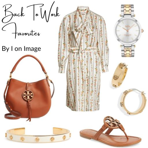 How to style Tory Burch floral silk shirt dress?