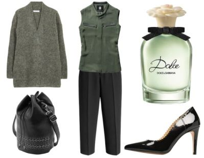 5. How To Wear Green To Work: Green + Edgy Black