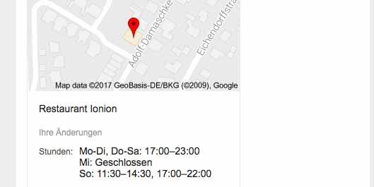 Griechisches Restaurant Ionion bei Google