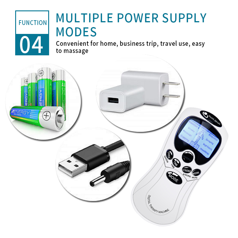 8 Modes Tens Machine Dual Output 8 Electrode Pads for Pain Relief Pulse Massage EMS Muscle Stimulation Tens Electroestimulador