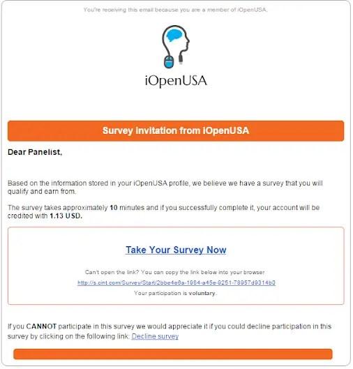 IOpenUSA survey invitation