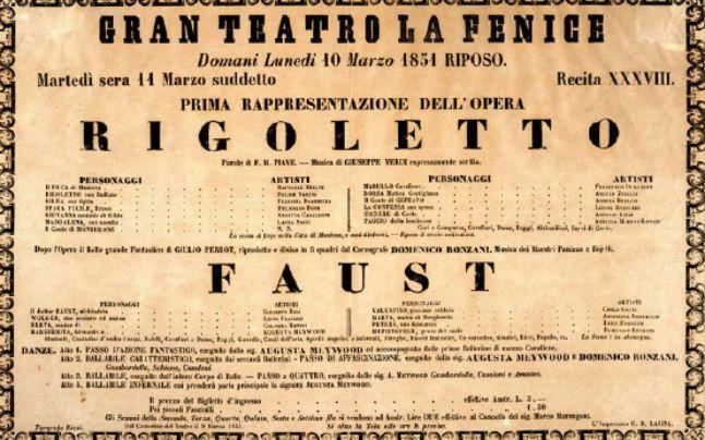 Cartel del estreno de Rigoletto en la Fenice
