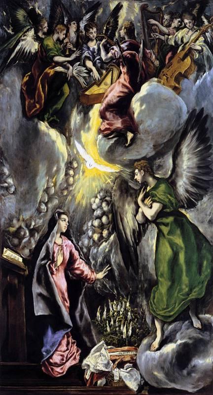La anunciación. El Greco, Museo del Prado, 1600.