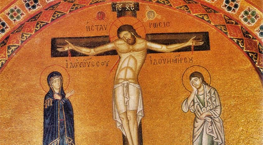 Stabat Mater Crucifixión s.XI, mosaico en el Monasterio de Hosios Loukás en Grecia