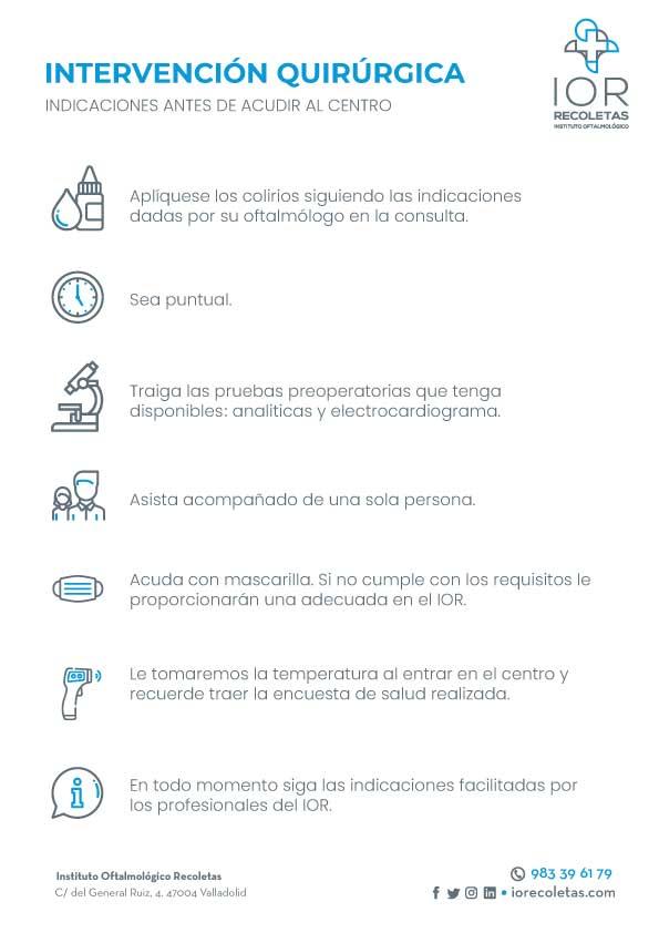 Intervención Quirúrgica. Información de interés para los pacientes del Instituto Oftalmológico Recoletas.