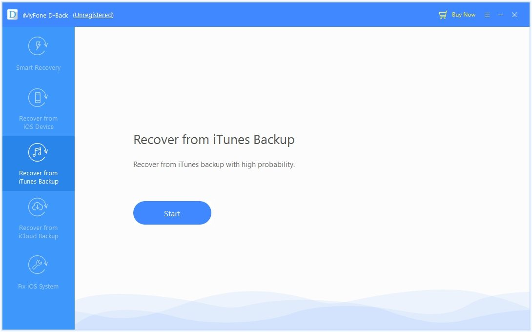 D-back restoration mula sa iTunes backup.
