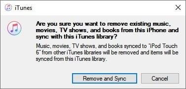 iTunes delete Sincronização da Biblioteca do iPhone