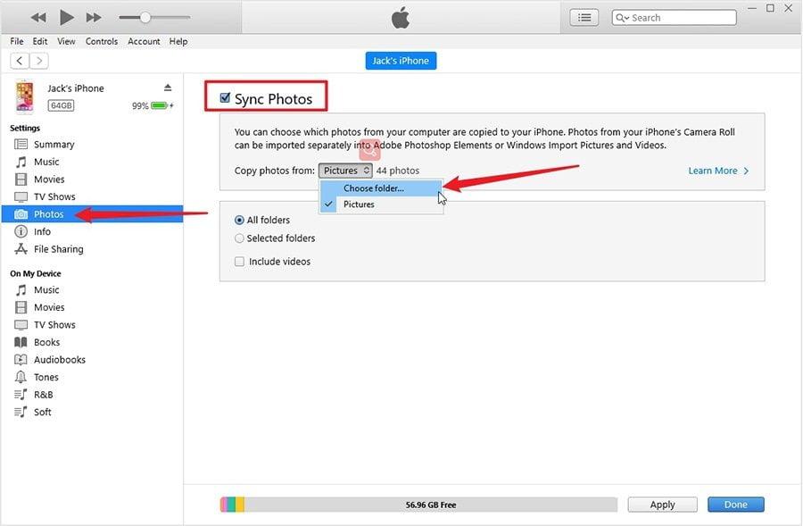 Transferindo fotos de um laptop de um computador no iPhone iPod iPod via iTunes