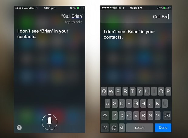 siri tap to edit iOS 7