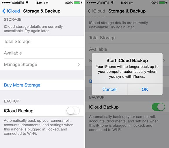 iCloud backup iOS 7