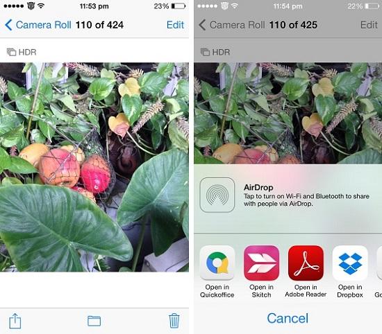 Open in app for photos iOS 7