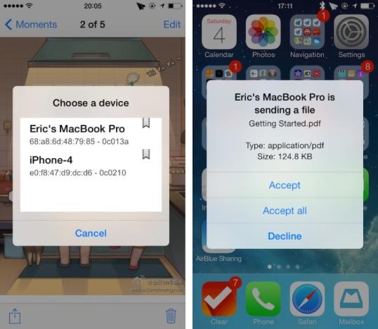 AirBlue Sharing iOS 7