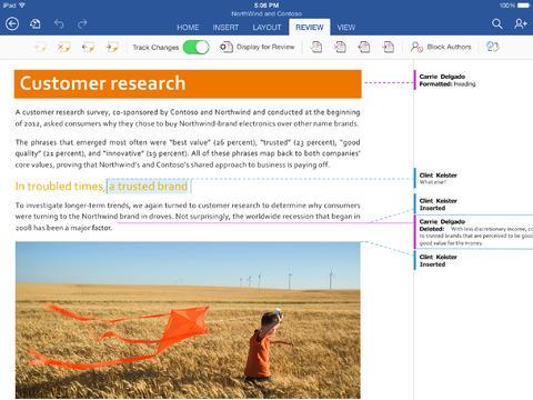 Microsoft Word iPad 2