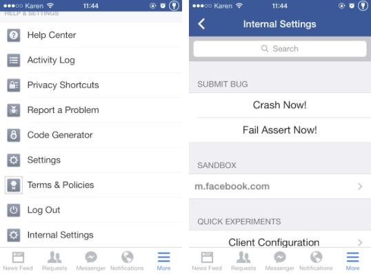 Facebook Internal Settings tweak
