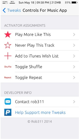 Controls for Music App