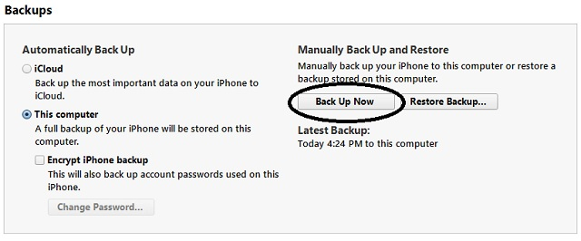 how to change where iphone backup is stored