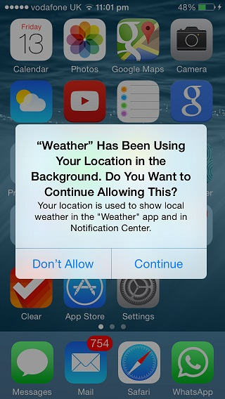 iOS 8 background location check