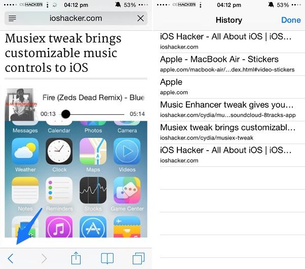Safari tab history