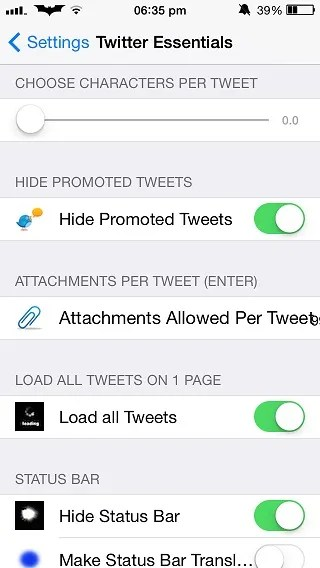 Twitter Essentials Tweak