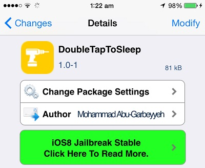 DoubleTapToSleep tweak