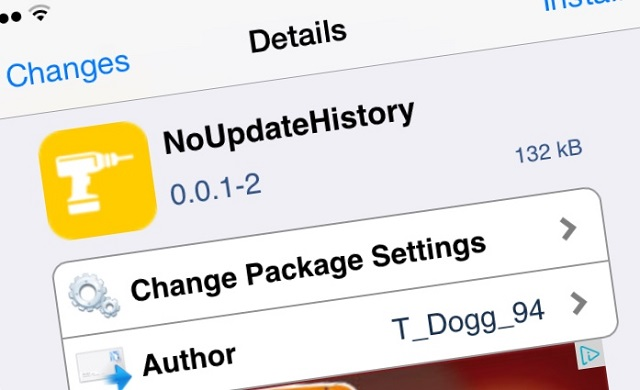 NoUpdateHistory tweak