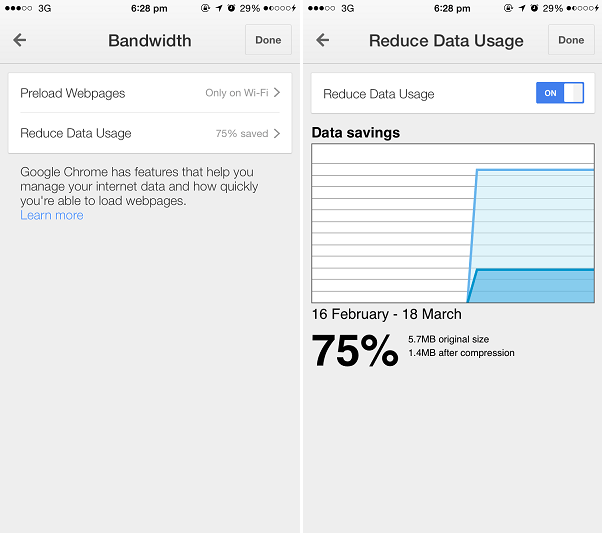 Chrome iOS bandwidth