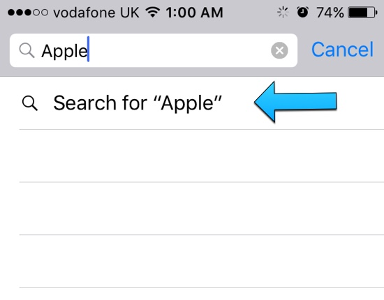 Mail search iOS