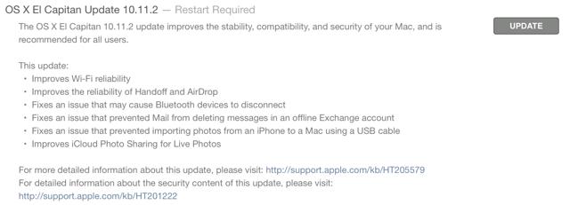 OS X el capitan 10.11.2 changelog