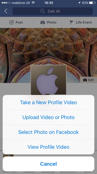 Facebook profile video iPhone