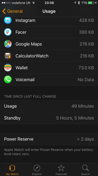 Battery usage Apple Watch