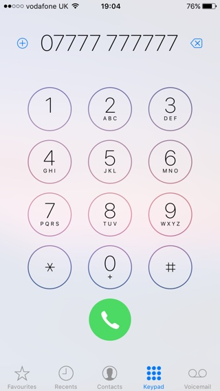 Phone app keypad