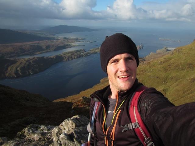 Selfie mountain background